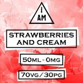 I AM Strawberries and Cream 50ml (60ml Short Fill) Nicotine Free E-Liquid